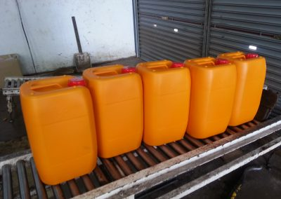 Jerry Cans waiting to be loaded onto Pallet