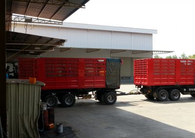 Trucks waiting for CP8 Jerry Cans to be loaded